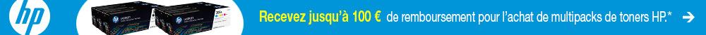 Recevez jusqu'à 100 € de remboursement pour l'achat de multipacks de toners HP.*
