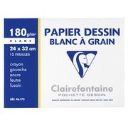 Pochette 12 feuilles papier dessin A4+ Clairefontaine C à grain 180g