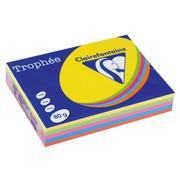 Papier gekleurd A4 80 g Clairefontaine Trophée geassorteerde levendige kleuren - Riem van 5 x 100 bladen