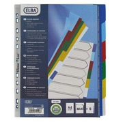 Set of maxi dividers, polypropylene, coloured, 120 microns, 6 divisions