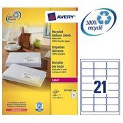 Doos 2100 gerecycleerde etiketten wit 63,5 x 38,1 mm Avery LR 7160