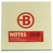 Block 100 yellow repositionable notes Bruneau 75 x 75 mm