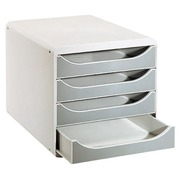Module de classement Exacompta Big Box coffre gris clair 4 tiroirs gris