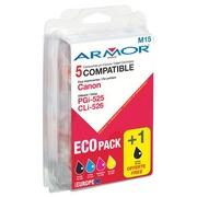 Pack van 5 cartridges Armor compatibel Canon zwart PGI525, CLI526BK + kleur CLI526 c/m/y