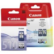 Canon big pack PG510 + CL511: 1 cartouche noire + 1 multipack noir / couleur haute capacité pour imprimante jet d'encre