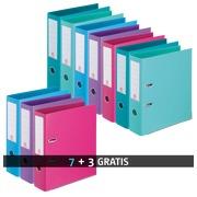 Pack de 7 classeurs à levier plastifiés Bruneau dos 7,2 cm assortis + 3 classeurs offerts