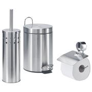 Set met toiletaccessoires in mat, roestvrij staal