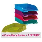 Pack 4 corbeilles à courrier Leitz Wow couleurs assorties + 1 offerte
