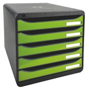 Module de classement Exacompta Big Box Plus 5 tiroirs vert glossy