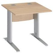 Straight desk W 80 cm light oak L-shaped undercarriage alu Metal Excellens