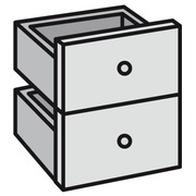 Block mit 2 Schubladen für Modul Maxicube Color schwarz