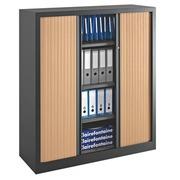 Armoire à rideaux monobloc Eco-conçue Décor H 136 x L 120 cm corps anthracite/rideaux hêtre