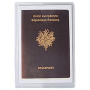 Sachet de 10 étuis de protection pour passeport 2 volets PVC lisse 20/100e.