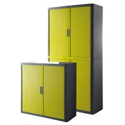 Hoge kast EasyOffice H 204 cm + 1 lage kast H 104 cm antracietkleurige behuizing groene rolluiken
