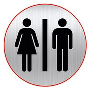 Plaque with pictogram Ø 8 cm 'toilet man/woman' Durable