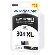 Pack cartouche Armor compatible HP 304XL couleurs pour imprimante jet d'encre