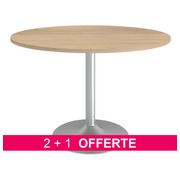 Pack tables rondes Bruneau Excellens chêne clair 2 + 1 offerte