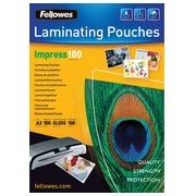 Fellowes pochette à plastifier Impress100 ft A3, 200 microns (2 x 100 microns), paquet de 100 pièces