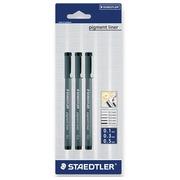 Staedtler fineliner  Pigment Liner blister de 3 pièces: 0,1; 0,3 et 0,5 mm