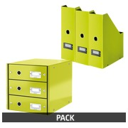 Pack classification module + 3 magazine holders Leitz Click & Store aniseed green