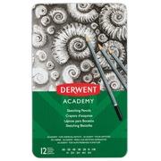 Derwent crayon graphite Academy, boîte métallique de 12 pièces: 6B-5B-4B-3B-2B-B-HB-H-2H-3H-4H-5H