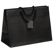 Shopping bag in kraft paper intense black with cords as handles 29 x 39 x 18 cm - pack of 10