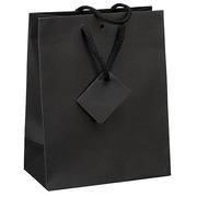 Winkeltas in kraftpapier intens zwart met koordjes als handvaten 22 x 18 x 10 cm - pak van 20