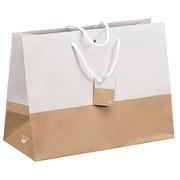 Sacs kraft et blanc bicolore Luxe poignées cordelières 29 x 39 x 18 cm - Paquet de 10
