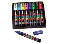 Box of 8 markers Uni Ball Posca asssorted colours with cone point 1,8 to 2,5 mm