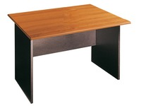 Straight desk Mogano W 120 x D 80 cm plate walnut base full black