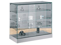 Glass counter showcase, aluminium base