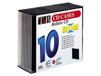 Pack 10 boîtiers CD slim plateau noir TnB
