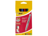 Marqueur permanent indélébile Bic Pocket pointe ogive 1,1 mm - Pochette de 4 assortis