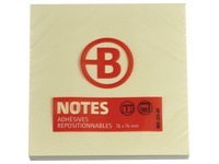Blok met 100 herkleefbare gele notes Bruneau 76 x 76 mm