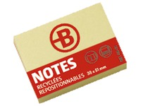 Block of 120 repositionable recycled notes Bruneau 38 x 51 mm