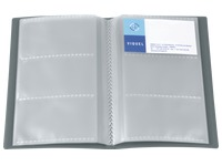 Business card holder Viquel polypropylene 20,6 x 12,6 cm smoked grey - 96 cards