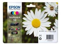 Pack von 4 Cartridges Epson 18 Schwarz + Farbig