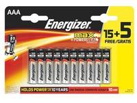 Blister van 15 batterijen + 5 gratis LR03 Energizer Max