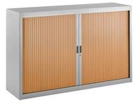 Niedriger Rolladenschrank 100 x 160 cm Rolläden in Holz und Gehäuse in Aluminium