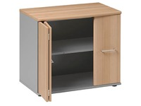 Low cabinet 2 doors H 71 x W 80 cm yellowish beech - light grey Quarta Plus