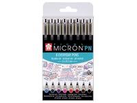 Sakura  fineliner Pigma Micron PN, set van 8 stuks in geassorteerde kleuren