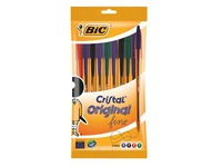 Sleeve of 10 ballpoint pens Bic Cristal fine point 10 assorted colours